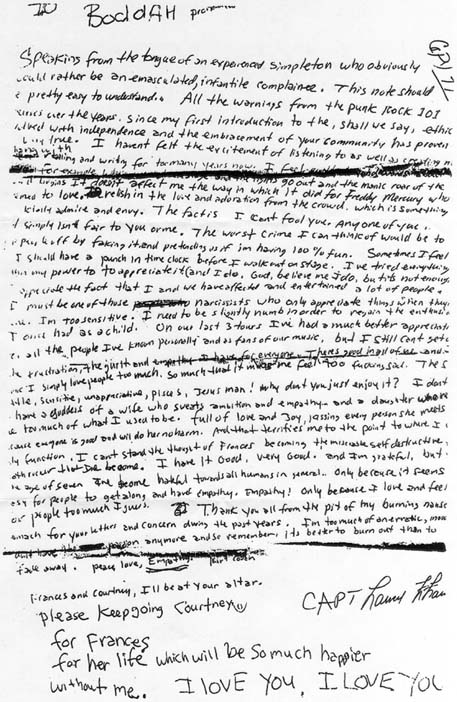 kurt cobain's suicide note - scanned image